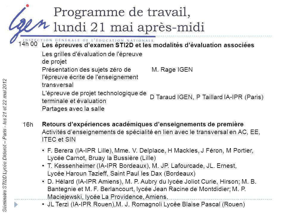 Séminaire STI2D Lycée Diderot – Paris - les 21 et 22 mai 2012 Programme de travail, lundi 21 mai après-midi 14h 00 Les épreuves dexamen STI2D et les modalités dévaluation associées Les grilles d évaluation de l épreuve de projet M.