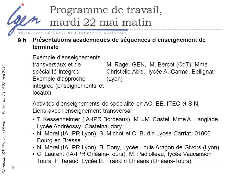 Séminaire STI2D Lycée Diderot – Paris - les 21 et 22 mai 2012 Programme de travail, mardi 22 mai matin 9 h Présentations académiques de séquences denseignement de terminale Exemple denseignements transversaux et de spécialité intégrés Exemple d approche intégrée (enseignements et locaux) M.