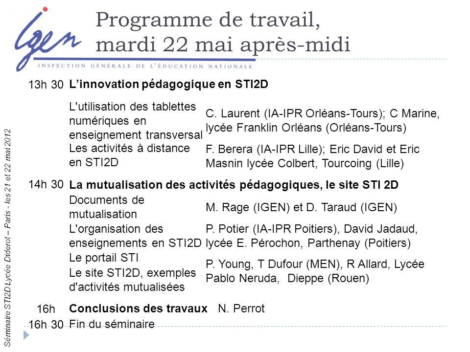 Séminaire STI2D Lycée Diderot – Paris - les 21 et 22 mai 2012 Programme de travail, mardi 22 mai après-midi 13h 30 Linnovation pédagogique en STI2D L utilisation des tablettes numériques en enseignement transversal C.