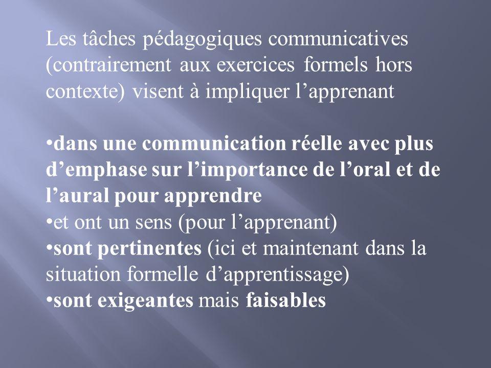 Les tâches pédagogiques communicatives (contrairement aux exercices formels hors contexte) visent à impliquer lapprenant dans une communication réelle