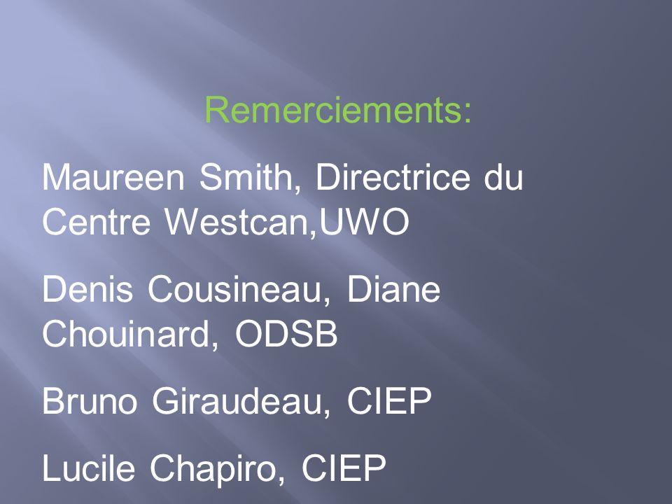 Remerciements: Maureen Smith, Directrice du Centre Westcan,UWO Denis Cousineau, Diane Chouinard, ODSB Bruno Giraudeau, CIEP Lucile Chapiro, CIEP