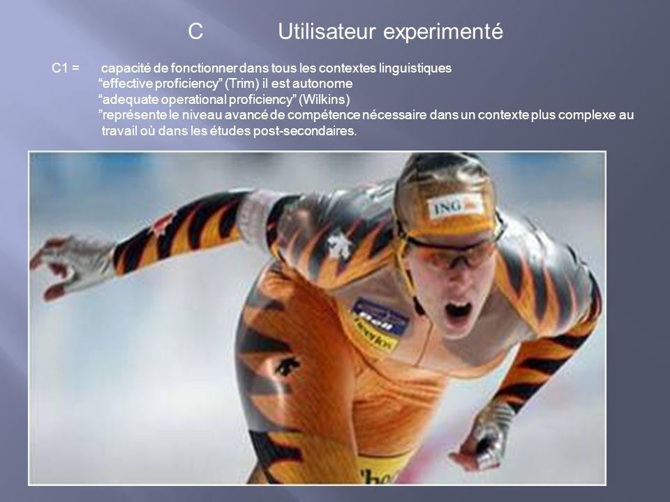 C Utilisateur experimenté C1 = capacité de fonctionner dans tous les contextes linguistiques effective proficiency (Trim) il est autonome adequate ope