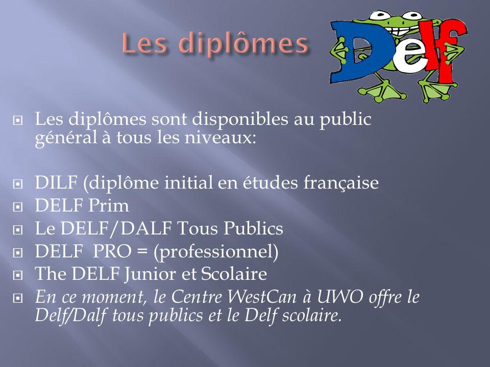Les diplômes sont disponibles au public général à tous les niveaux: DILF (diplôme initial en études française DELF Prim Le DELF/DALF Tous Publics DELF