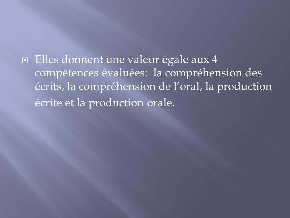 Elles donnent une valeur égale aux 4 compétences évaluées: la compréhension des écrits, la compréhension de loral, la production écrite et la producti