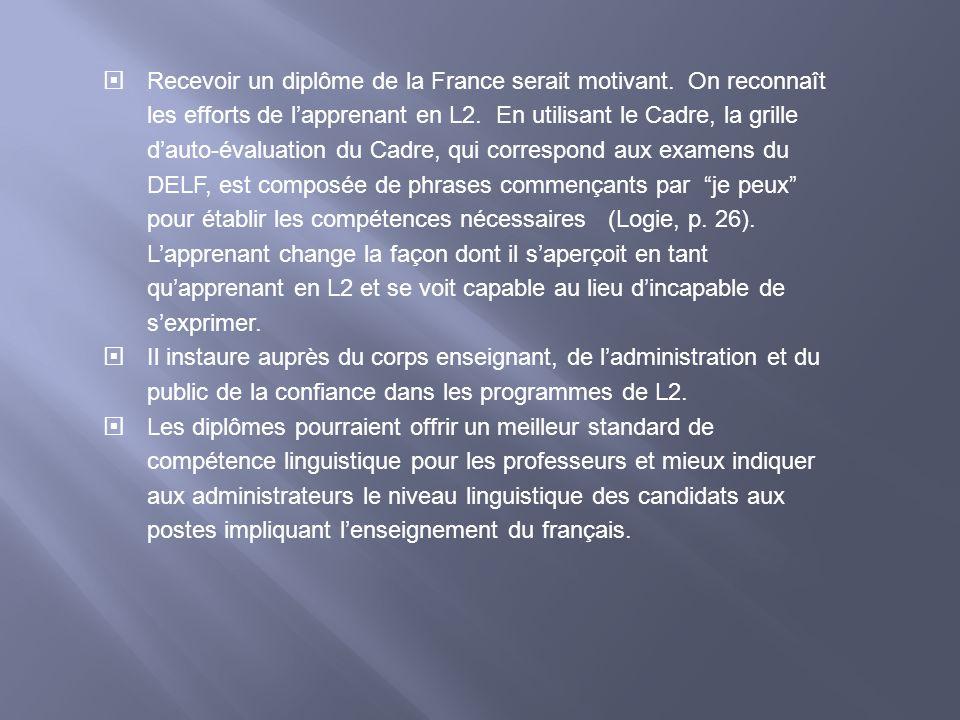 Recevoir un diplôme de la France serait motivant. On reconnaît les efforts de lapprenant en L2. En utilisant le Cadre, la grille dauto-évaluation du C
