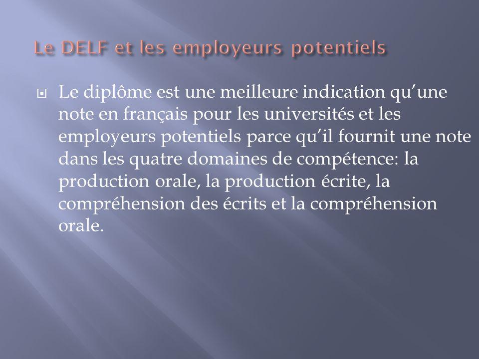 Le diplôme est une meilleure indication quune note en français pour les universités et les employeurs potentiels parce quil fournit une note dans les