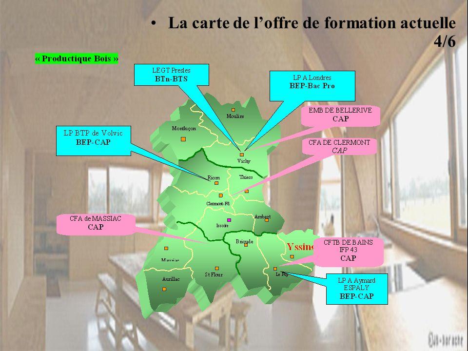 La carte de loffre de formation actuelle 4/6 « Productique Bois »