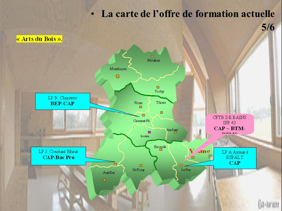 La carte de loffre de formation actuelle 5/6 « Productique Bois »