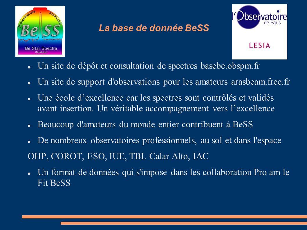 La base de donnée BeSS Un site de dépôt et consultation de spectres basebe.obspm.fr Un site de support d'observations pour les amateurs arasbeam.free.