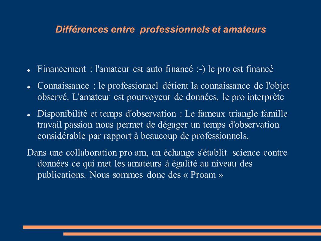 Différences entre professionnels et amateurs Financement : l'amateur est auto financé :-) le pro est financé Connaissance : le professionnel détient l