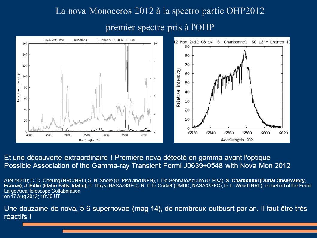 La nova Monoceros 2012 à la spectro partie OHP2012 premier spectre pris à l'OHP Et une découverte extraordinaire ! Première nova détecté en gamma avan