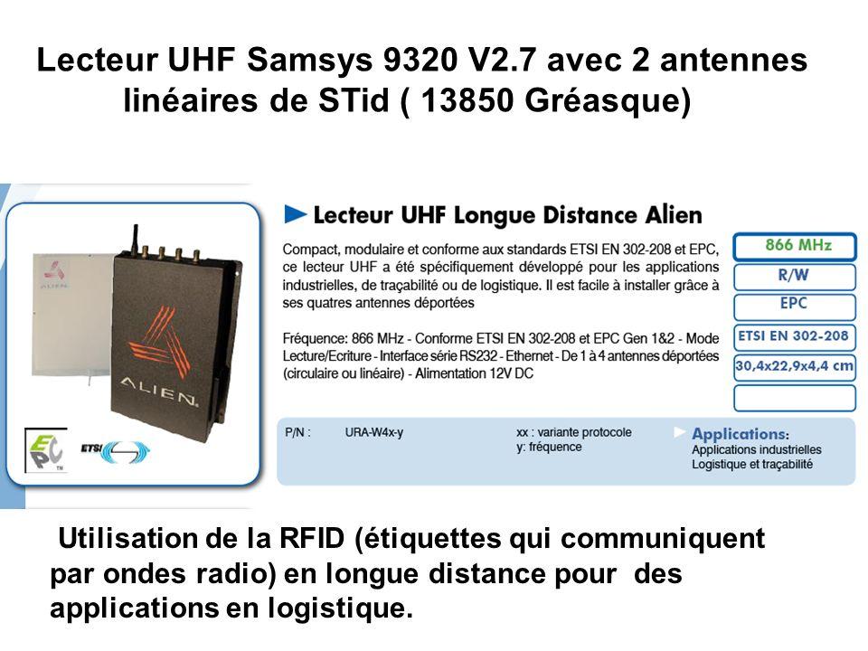 Lecteur UHF Samsys 9320 V2.7 avec 2 antennes linéaires de STid ( 13850 Gréasque) Utilisation de la RFID (étiquettes qui communiquent par ondes radio)