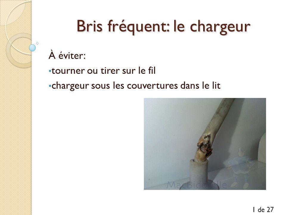 Bris fréquent: le chargeur Bris fréquent: le chargeur À éviter: tourner ou tirer sur le fil chargeur sous les couvertures dans le lit 1 de 27