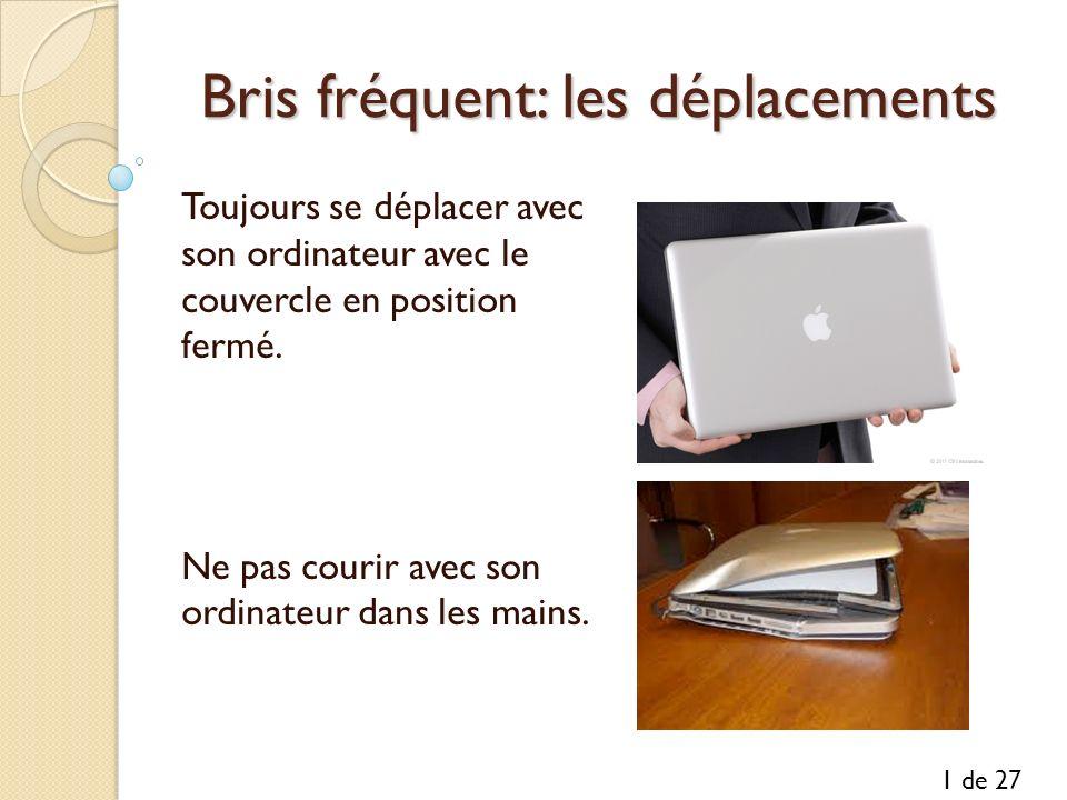 Bris fréquent: les déplacements Toujours se déplacer avec son ordinateur avec le couvercle en position fermé. Ne pas courir avec son ordinateur dans l