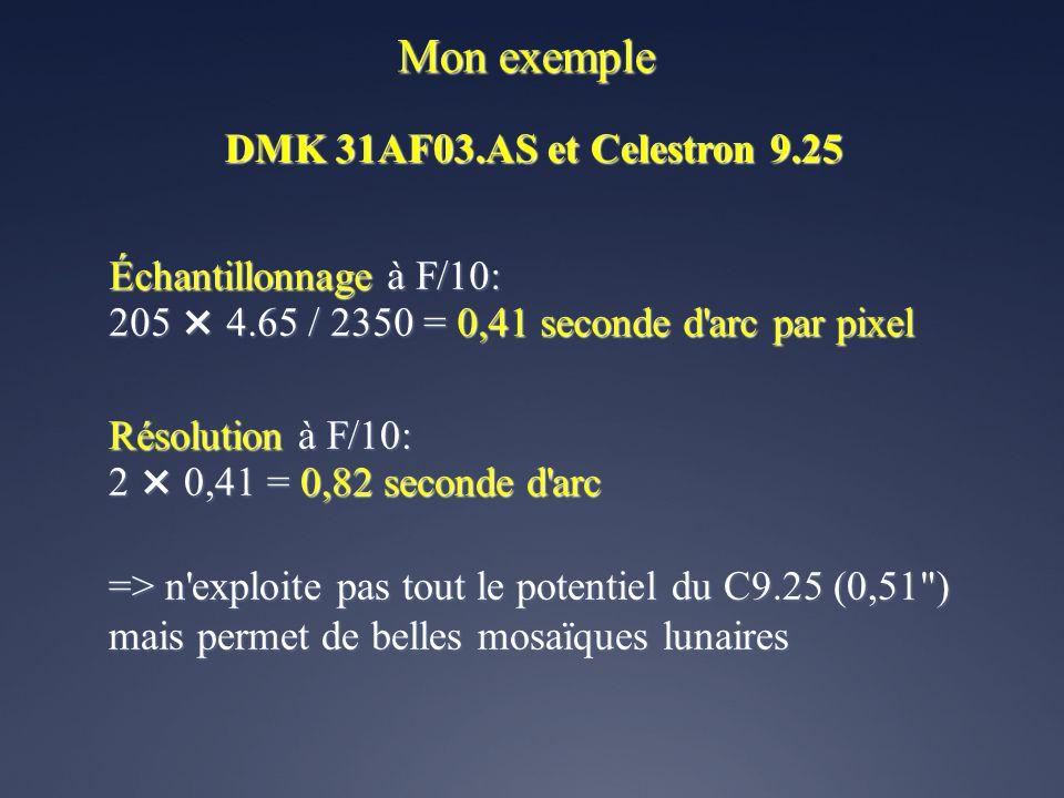 Mon exemple DMK 31AF03.AS et Celestron 9.25 Résolution maximale du télescope: 120 / 2350 = 0,51 seconde d'arc Taille des pixels de la DMK 31: 4.65 µm