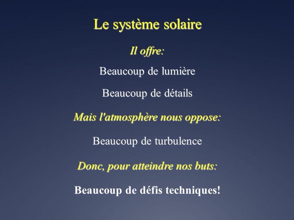 Le système solaire Beaucoup de lumière Beaucoup de détails Beaucoup de turbulence Beaucoup de défis techniques.