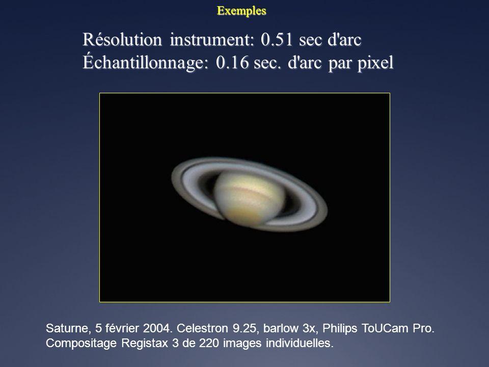 Exemples Résolution instrument: 0.51 sec d'arc Échantillonnage: 0.16 sec. d'arc par pixel 26 au 27 mars 2005. Celestron 9.25, barlow 3x, Philips ToUCa