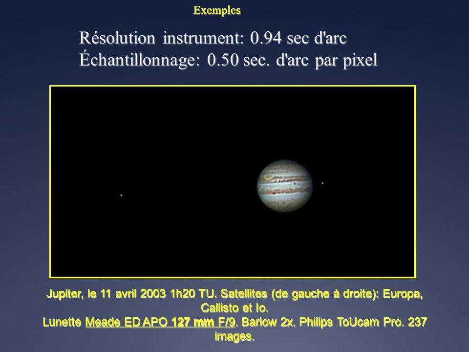 Exemples Résolution instrument: 1.14 sec d'arc Échantillonnage: 0.79 sec. d'arc par pixel Vénus, automne 2007 – 1 prise de vues par 15 jours Lunette A
