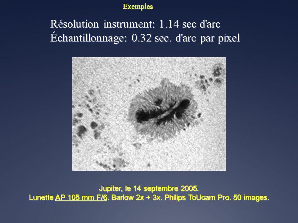 Exemples Résolution instrument: 0.94 sec d'arc Échantillonnage: 0.50 sec. d'arc par pixel Jupiter, le 11 avril 2003 1h20 TU. Satellites (de gauche à d