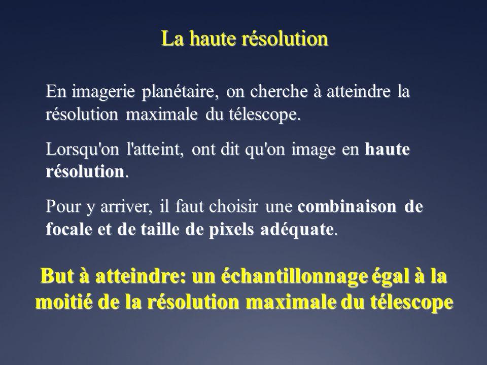 La haute résolution En imagerie planétaire, on cherche à atteindre la résolution maximale du télescope.
