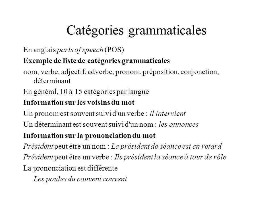 Étiquettes lexicales structurées viendrai,V:F1s Paires attribut-valeur partOfSpeech = verb tense = future person = 1 number = singular attributs (features) valeurs (values)