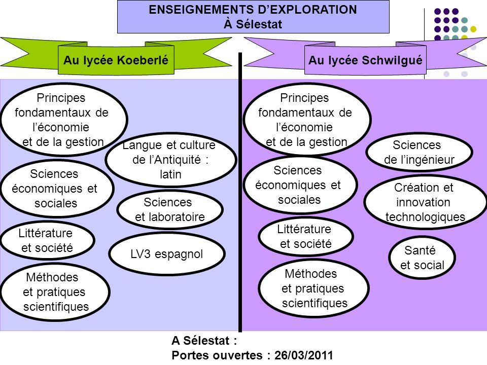 Sciences économiques et sociales ENSEIGNEMENTS DEXPLORATION À Sélestat Au lycée Koeberlé Principes fondamentaux de léconomie et de la gestion Littérat