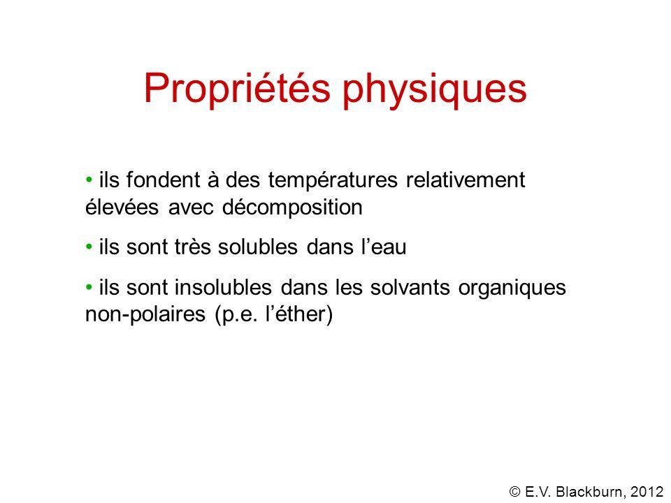 © E.V. Blackburn, 2012 Propriétés physiques ils sont très solubles dans leau ils sont insolubles dans les solvants organiques non-polaires (p.e. léthe