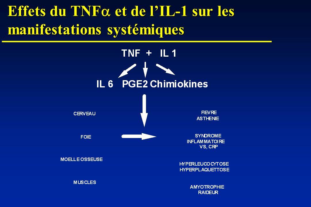 Effets du TNF et de lIL-1 sur les manifestations systémiques