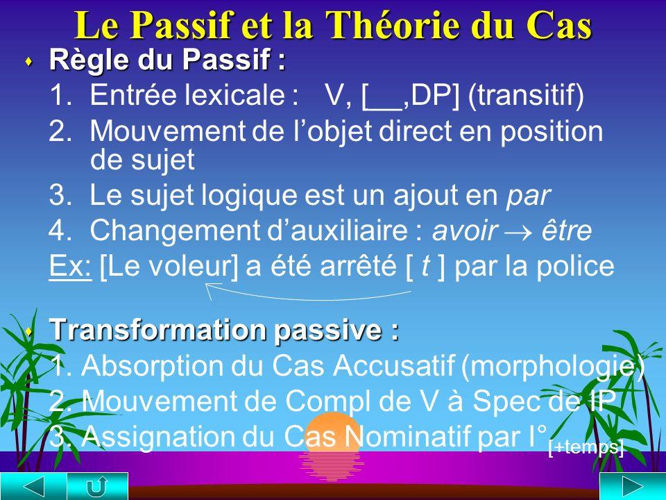 La Théorie du Cas s Filtre sur le Cas : s Filtre sur le Cas : tout NP (DP) doit recevoir un Cas 1. Eléments assignant le Cas : Têtes = {V, P, I [+temp