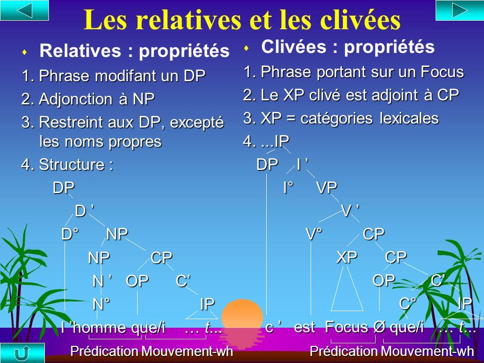 Les Nœuds-barrières [ IP1 [ DP [ CP [ IP2 ] ] ] ] barrières={IP1, DP} 1. *Qui regrettes- [ IP1 tu [ DP le fait [ CP [ IP2 davoir invité [t] ? ] ] ] ]