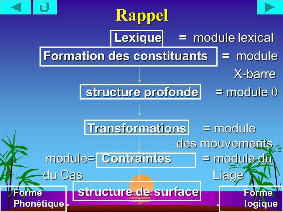 Rappel Lexique = module lexical Lexique = module lexical Formation des constituants = module Formation des constituants = module X-barre X-barre structure profonde = module structure profonde = module Transformations = module des mouvements Transformations = module des mouvements module= Contraintes = module du module= Contraintes = module du du Cas Liage du Cas Liage Forme structure de surface Forme Phonétique logique Forme structure de surface Forme Phonétique logique