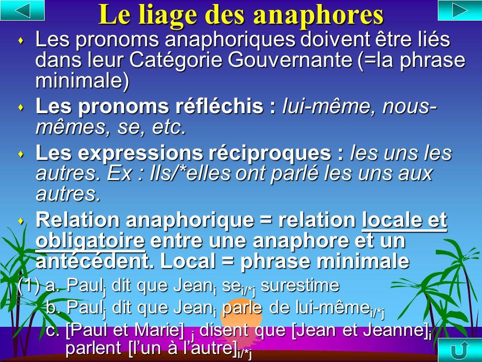 La relation de liage Le liage : X lie Y ssi a. X c-commande Y, et c-commande b. X et Y sont coindicés Le domaine de liage (Catégorie Gouvernante): La