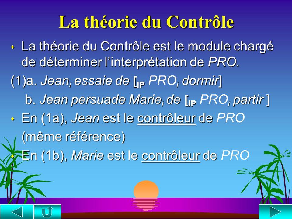 Les catégories vides s Les traces-wh sont [-a,-p], semblables aux expressions-R. [ CP1 Qui i penses-tu [ CP2 que [ IP2 Marie aime t i ]]] s Les traces