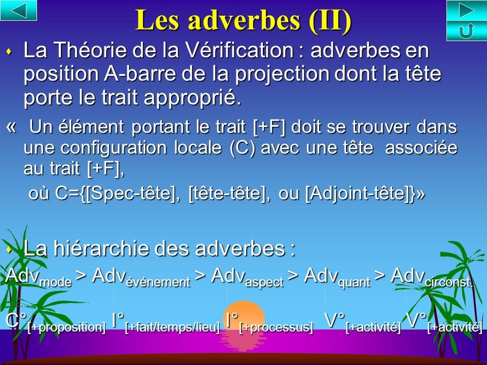 s La distribution des adverbes est régie par leurs propriétés sémantiques s Adverbes = Opérateurs de catégorie AdvP en position A-barre spécifieur ou