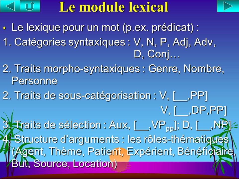 s La distribution des adverbes est régie par leurs propriétés sémantiques s Adverbes = Opérateurs de catégorie AdvP en position A-barre spécifieur ou adjointe.