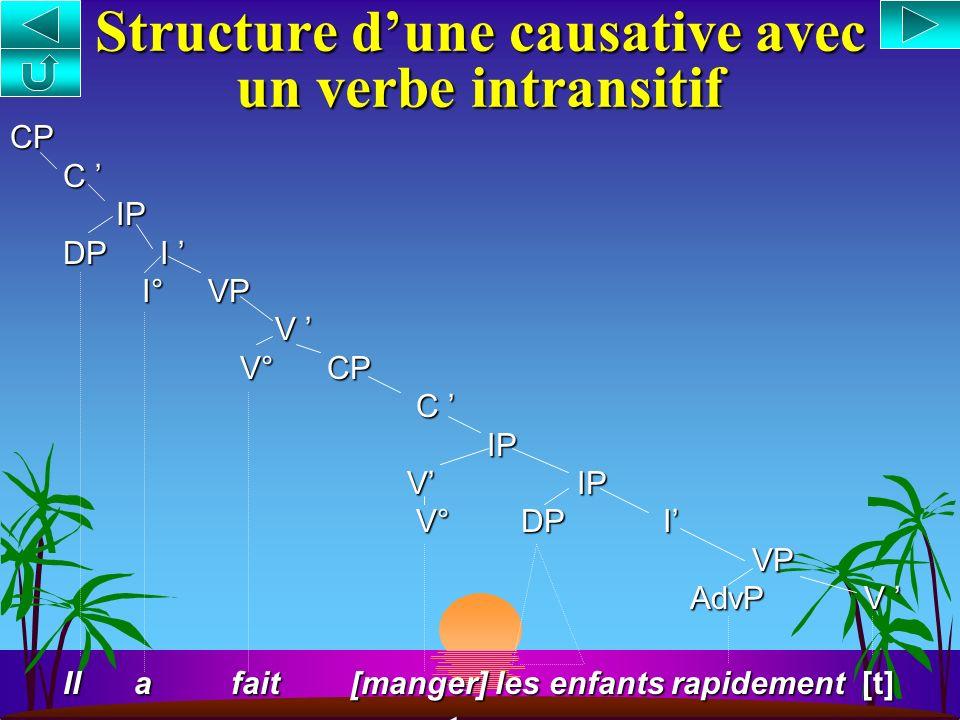 s Compléments de verbes causatifs : [ CP Jean fait [ CP [ IP partir i [ IP Marie [ VP [ V t i ]] s Analyse : Montée du groupe verbal (V/VP) et adjonct