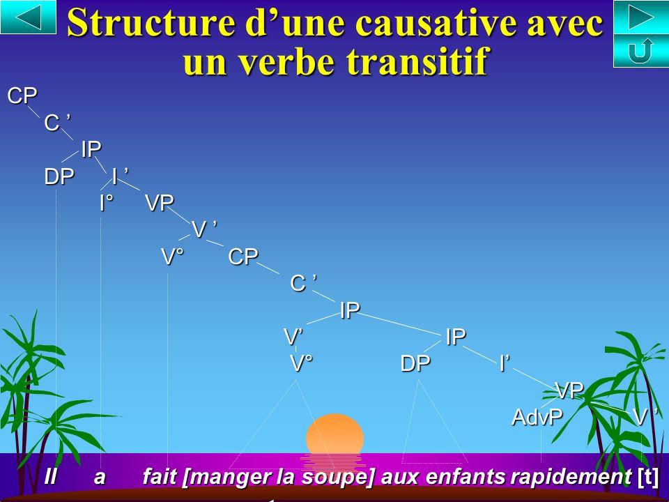 Structure dune causative avec un verbe intransitif CP C IP IP DP I DP I I° VP I° VP V V° CP V° CP C IP IP V IP V IP V° DP I V° DP I VP VP AdvP V AdvP