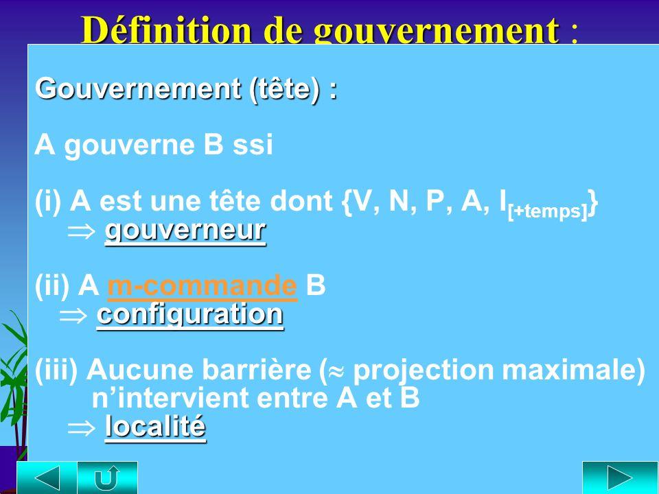 Définitions de commande Définitions de commande : C-commande (Reinhart 1981) (A) C-commande (Reinhart 1981) : « Le nœud A c-commande le nœud B sii (i)