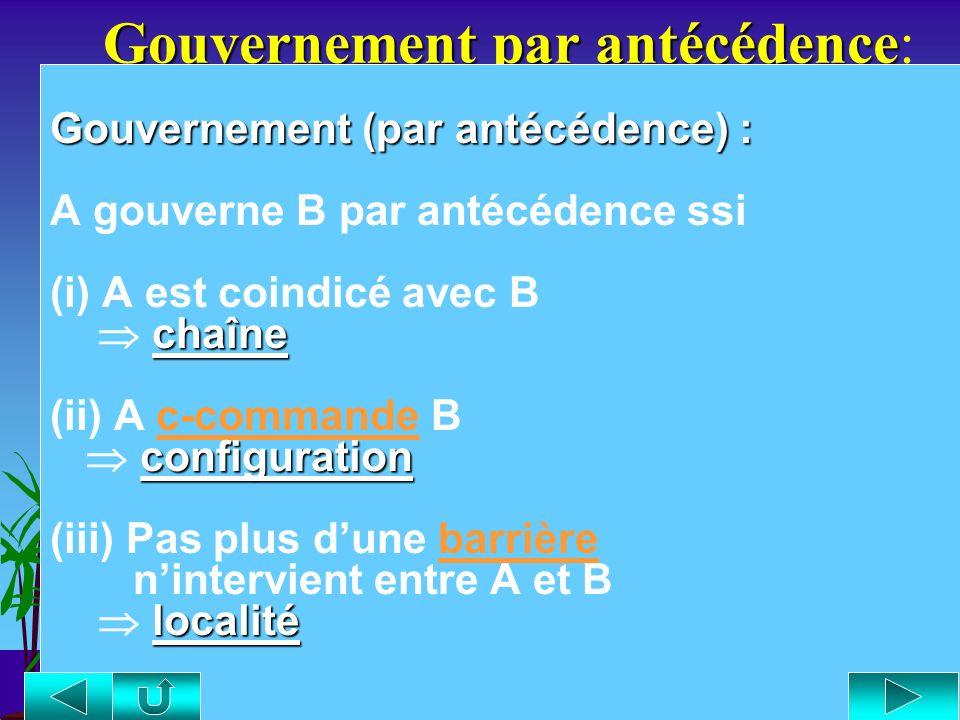 Définition de gouvernement Définition de gouvernement : Gouvernement (tête) : A gouverne B ssi (i) A est une tête dont {V, N, P, A, I [+temps] } gouve