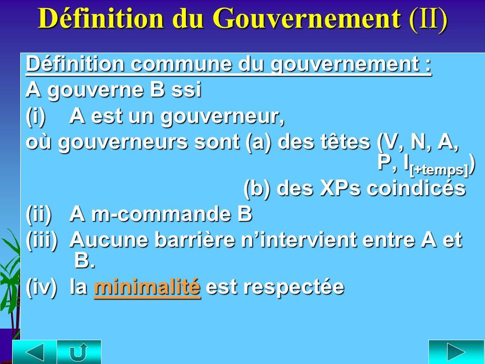 Définition du Gouvernement Définition du Gouvernement: Les nœuds barrières : Ce sont des projections maximales qui bloquent le gouvernement, que ce so