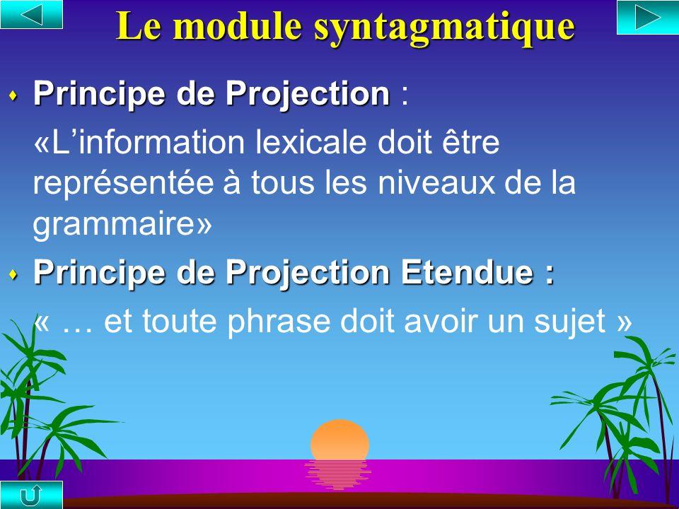 Le module syntagmatique s Principe de Projection s Principe de Projection : «Linformation lexicale doit être représentée à tous les niveaux de la grammaire» s Principe de Projection Etendue : « … et toute phrase doit avoir un sujet »