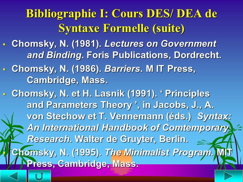 Bibliographie I: Cours DES/ DEA de Syntaxe Formelle suite... suite... s Chomsky, N. (1957). Syntactic Structures. Mouton, The Hague. s Chomsky, N. (19