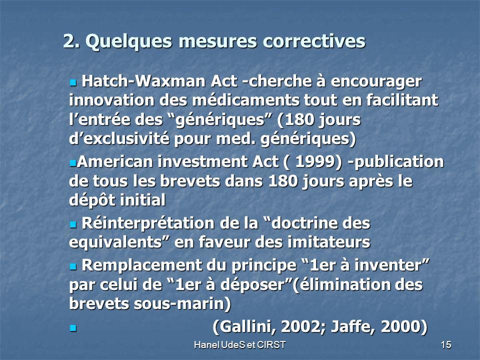 Hanel UdeS et CIRST 15 2. Quelques mesures correctives 2.