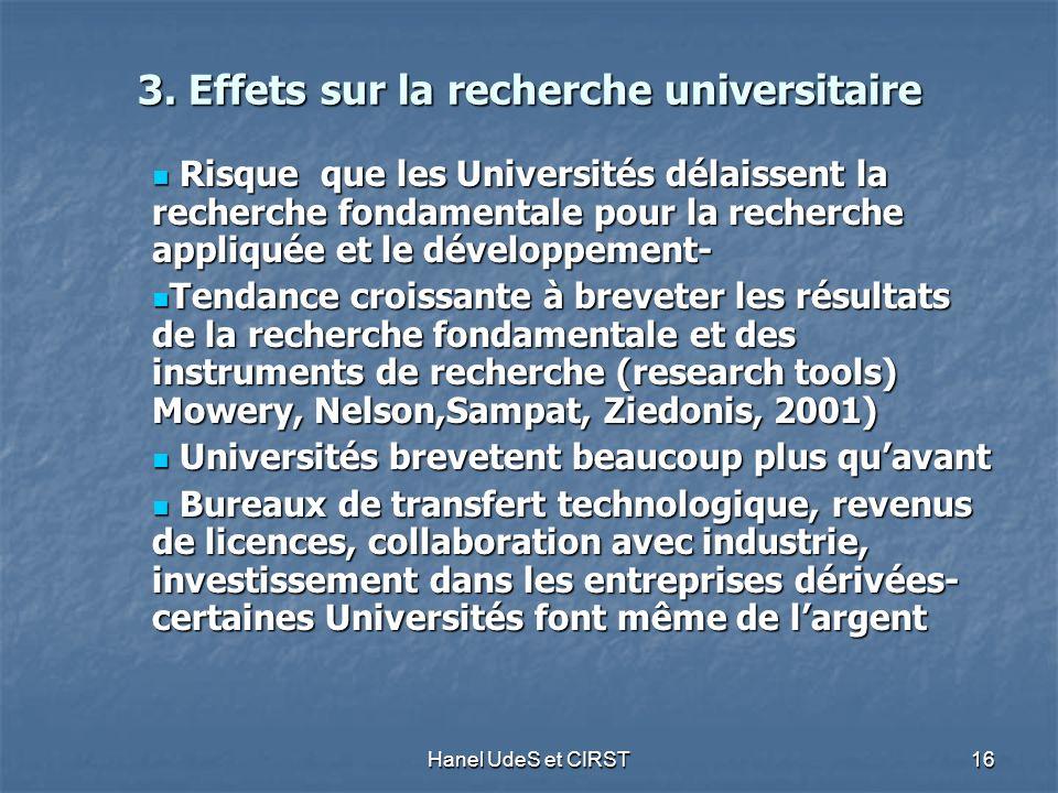 Hanel UdeS et CIRST 16 3. Effets sur la recherche universitaire 3.