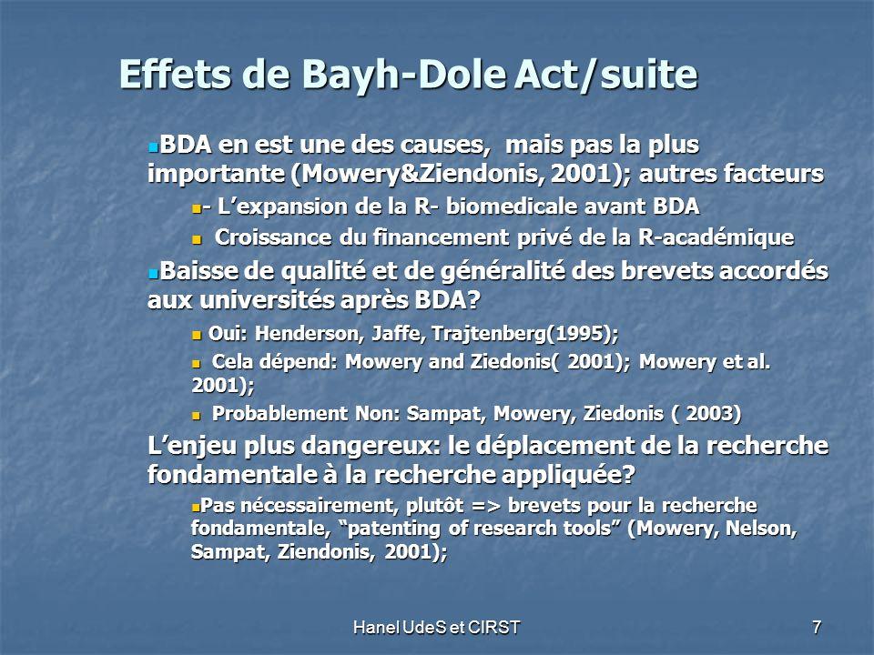 Hanel UdeS et CIRST 7 Effets de Bayh-Dole Act/suite BDA en est une des causes, mais pas la plus importante (Mowery&Ziendonis, 2001); autres facteurs BDA en est une des causes, mais pas la plus importante (Mowery&Ziendonis, 2001); autres facteurs - Lexpansion de la R- biomedicale avant BDA - Lexpansion de la R- biomedicale avant BDA Croissance du financement privé de la R-académique Croissance du financement privé de la R-académique Baisse de qualité et de généralité des brevets accordés aux universités après BDA.