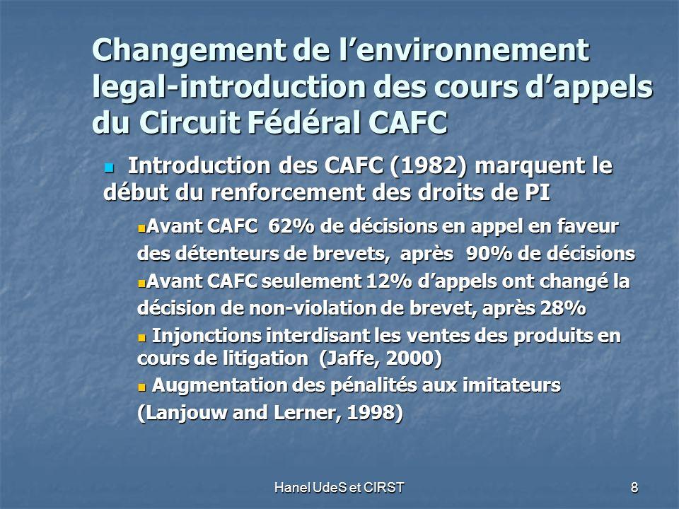 Hanel UdeS et CIRST 8 Changement de lenvironnement legal-introduction des cours dappels du Circuit Fédéral CAFC Introduction des CAFC (1982) marquent le début du renforcement des droits de PI Introduction des CAFC (1982) marquent le début du renforcement des droits de PI Avant CAFC 62% de décisions en appel en faveur des détenteurs de brevets, après 90% de décisions Avant CAFC 62% de décisions en appel en faveur des détenteurs de brevets, après 90% de décisions Avant CAFC seulement 12% dappels ont changé la décision de non-violation de brevet, après 28% Avant CAFC seulement 12% dappels ont changé la décision de non-violation de brevet, après 28% Injonctions interdisant les ventes des produits en cours de litigation (Jaffe, 2000) Injonctions interdisant les ventes des produits en cours de litigation (Jaffe, 2000) Augmentation des pénalités aux imitateurs Augmentation des pénalités aux imitateurs (Lanjouw and Lerner, 1998)