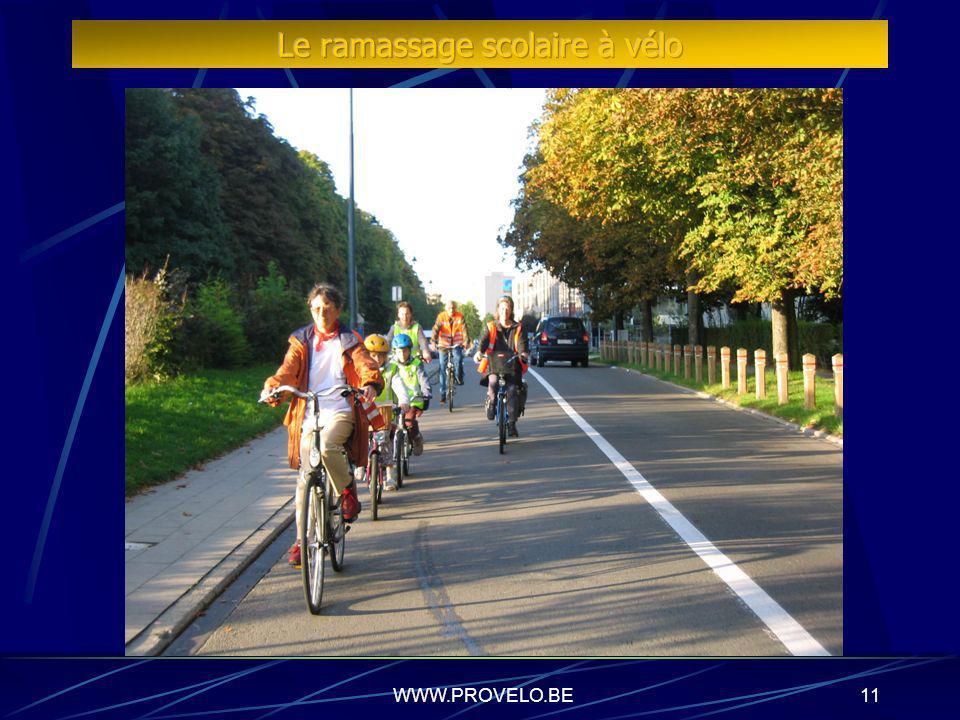 WWW.PROVELO.BE10 Typologie des ramassages scolaires à vélo Rangs vélos bénévoles Association de parents Enseignants Cyclistes quotidiens Retraités Ran