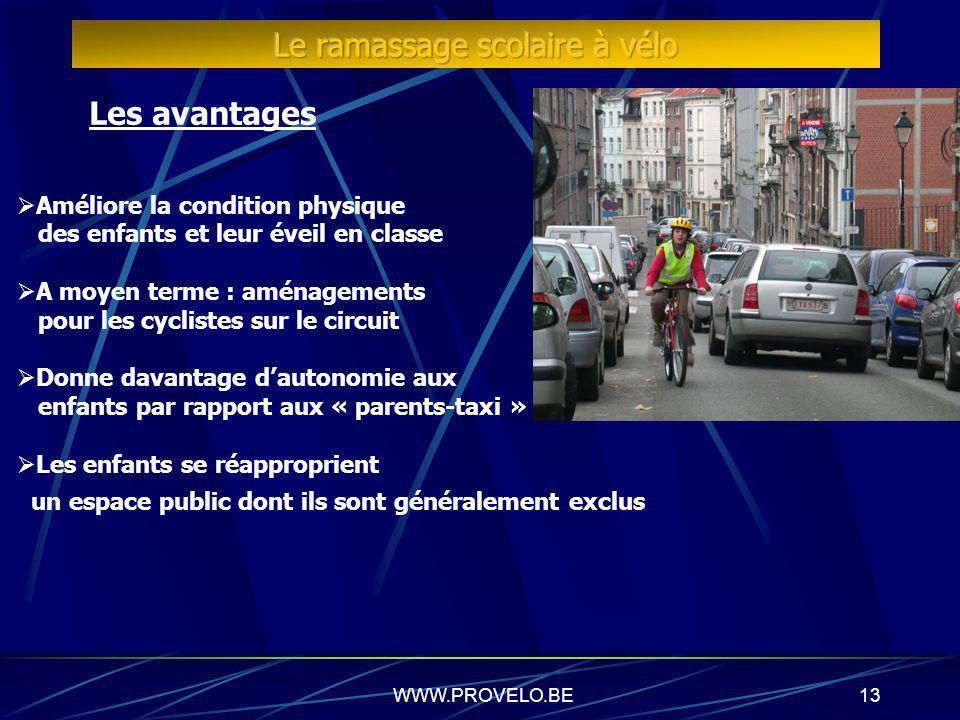 WWW.PROVELO.BE12 Les avantages Répond partiellement aux problèmes de mobilité aux abords des écoles Visibilité du vélo dans la ville. L école montre l