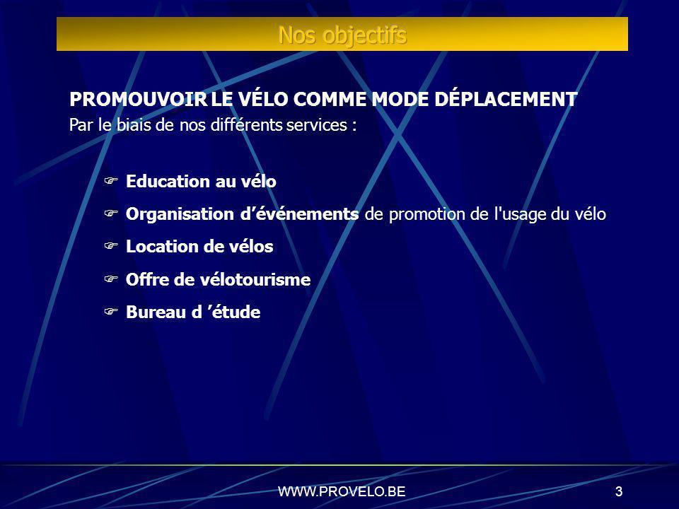 WWW.PROVELO.BE3 PROMOUVOIR LE VÉLO COMME MODE DÉPLACEMENT Par le biais de nos différents services : Education au vélo Organisation dévénements de promotion de l usage du vélo Location de vélos Offre de vélotourisme Bureau d étude