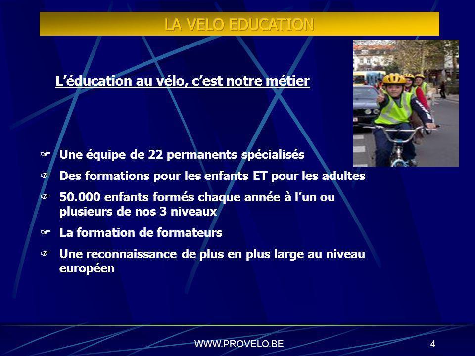 WWW.PROVELO.BE3 PROMOUVOIR LE VÉLO COMME MODE DÉPLACEMENT Par le biais de nos différents services : Education au vélo Organisation dévénements de prom